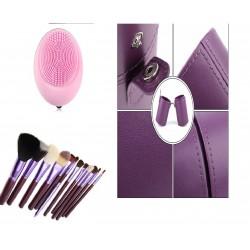 12 Brochas de maquillaje con estuche cilindro morado y masajeador facial electrico