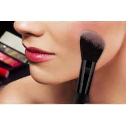 12 Brochas de maquillaje con estuche cilindro - negro