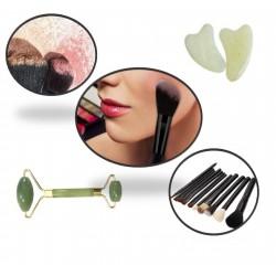 12 Brochas de maquillaje con estuche cilindro negro y rodillo jade