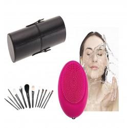 12 Brochas negras de maquillaje con estuche cilindro y masajeador facial electrico