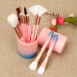 12 Brochas de maquillaje con estuche cilindro rosa/azul