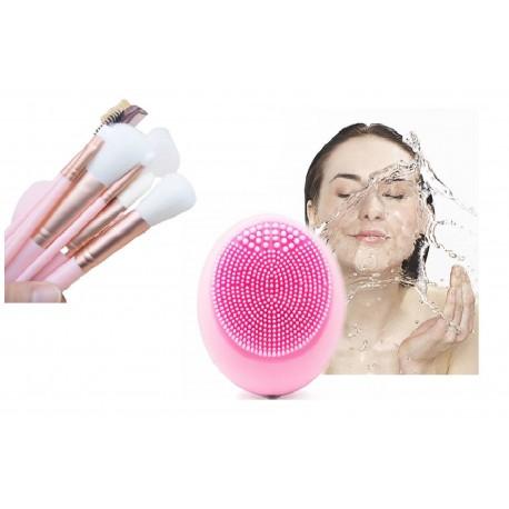 12 Brochas de maquillaje rosa/azul con estuche y masajeador facial electrico