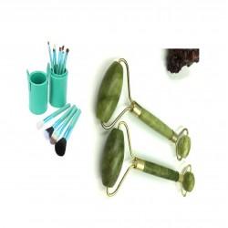 12 Brochas de maquillaje con estuche cilindro azul y rodillo jade