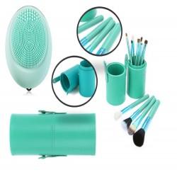 12 Brochas de maquillaje con estuche cilindro y masajeador facial electrico