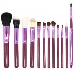12 Brochas de maquillaje con estuche cilindro - color morado